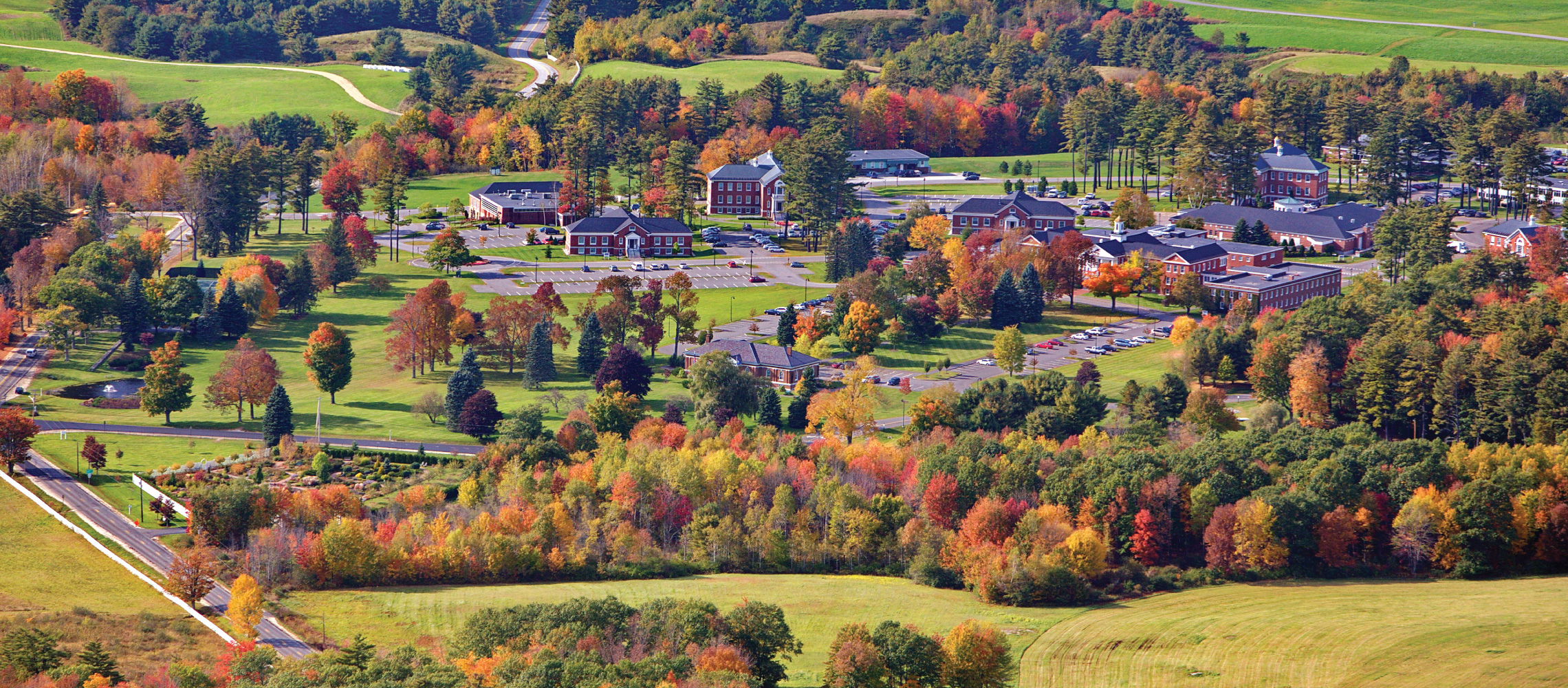 fall aerial view pineland farms new gloucester maine