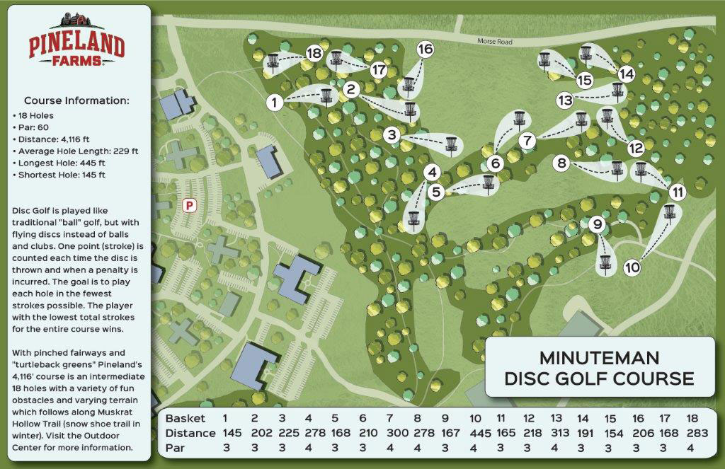 Pineland Farms' Minuteman: A recreational 4,116 ft., 18 hole, Disc Golf course