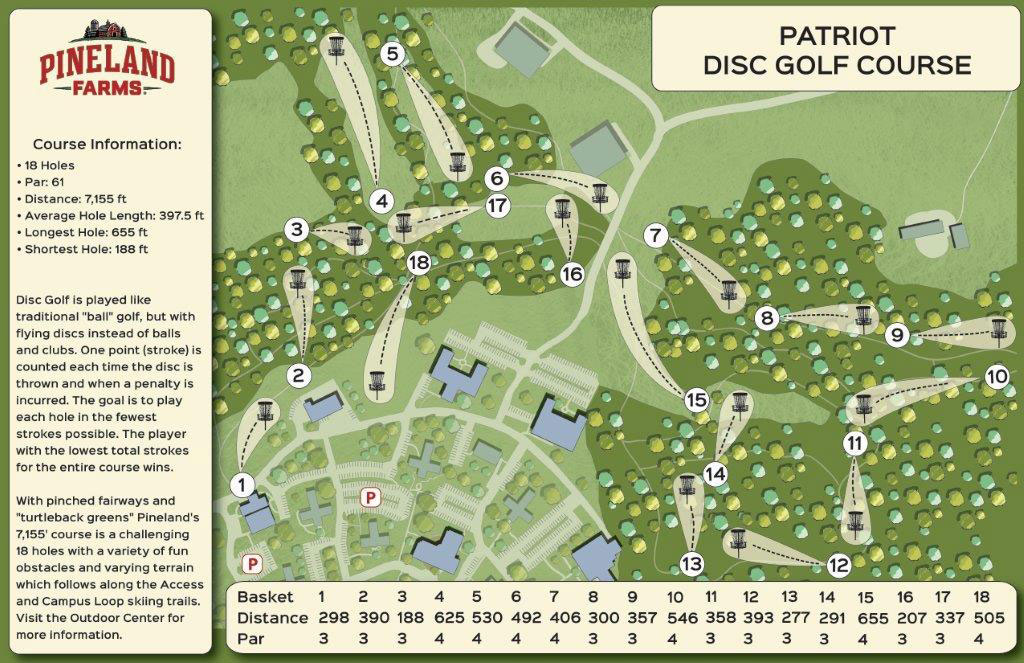 Pineland Farms' Patriot: A pro 7,155 ft., 18 hole, Disc Golf course.
