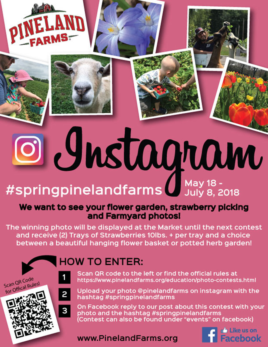 Pineland Farms Photo Contest on Instagram and Facebook.